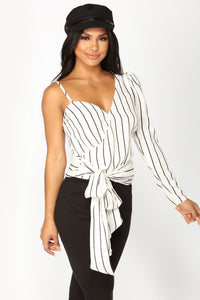 Lindsey Stripe Top - White/Black