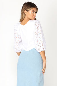 Lit Lace Up Long Sleeve Top - White