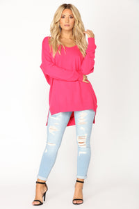 Love It Or Leave It Sweater - Fuchsia