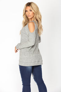 Korinna Cold Shoulder Top - Grey