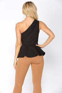 Iris One Shoulder Top - Black