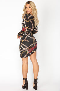 Chain Belt Dress - Black Multi