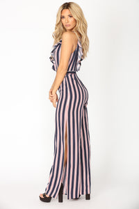 Loyal Stripe Jumpsuit - Navy