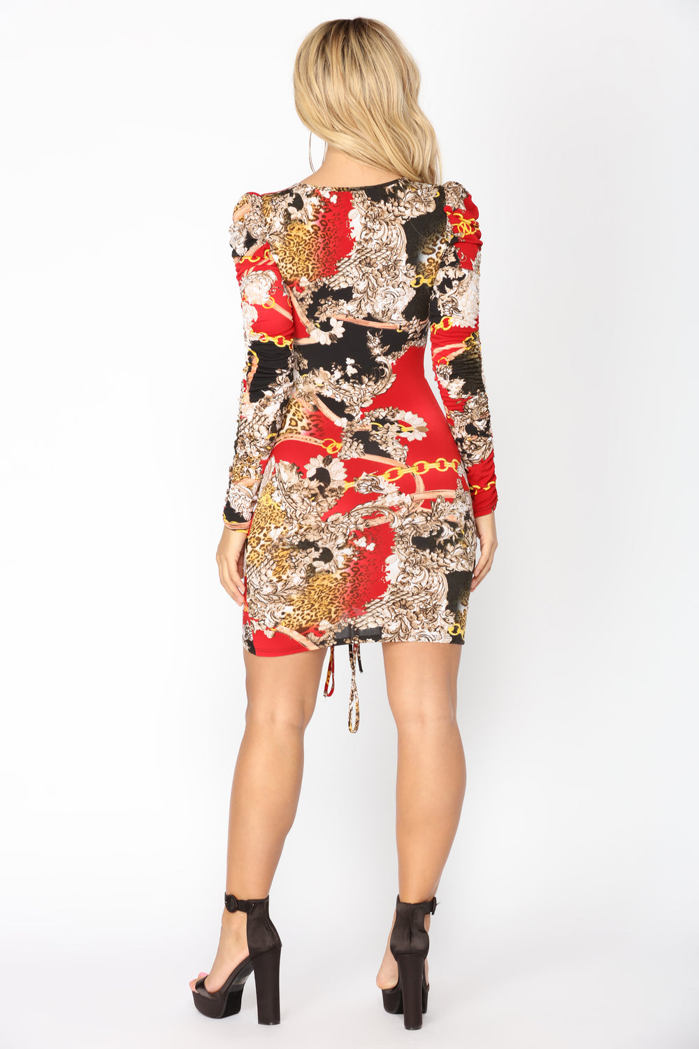 Wild One Ruched Dress - Red Multi