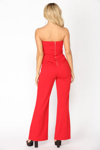 Formal Gathering Tube Jumpsuit - Red
