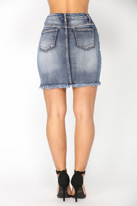 Dont Stress It Denim Skirt - Dark Denim