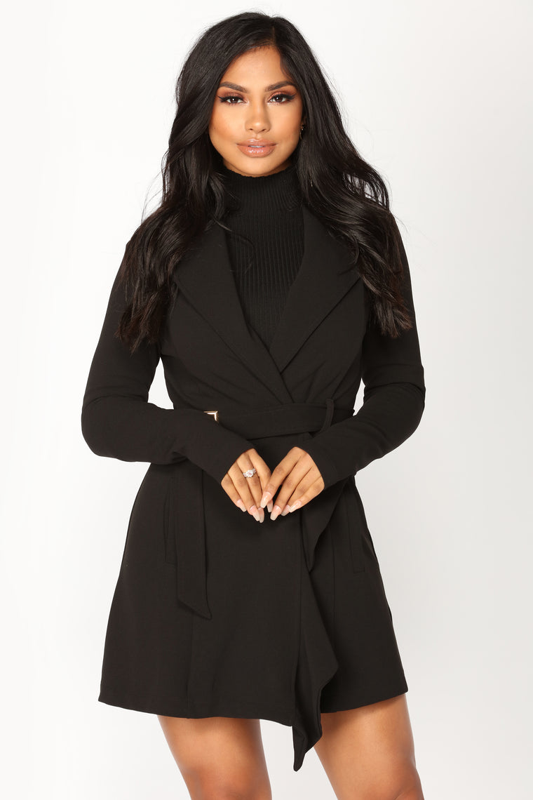 Paris Lights Ruffle Trench Coat - Black