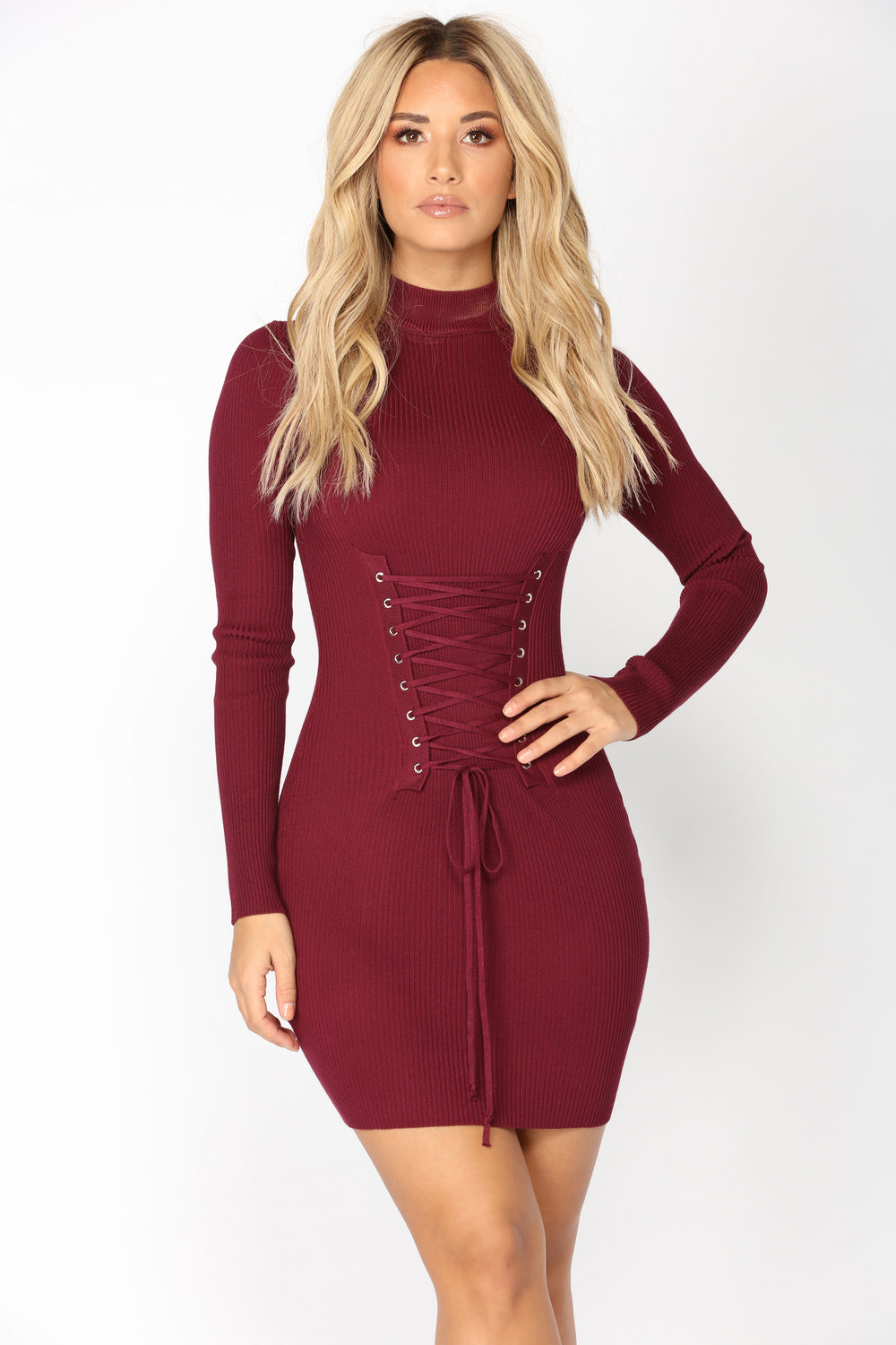 Yessica Corset Dress - Burgundy