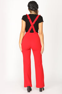 Jump Forward Overall Jumpsuit - Red