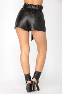 Cassi Faux Leather Shorts - Black