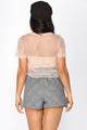 Pearlin Around Mesh Top - Beige