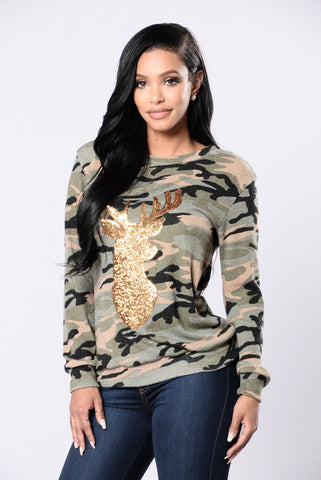 Oh Deer Holiday Sweater - Camo