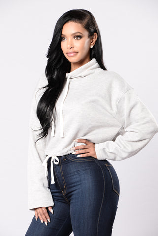 Super Turnt Up Top - Heather Grey