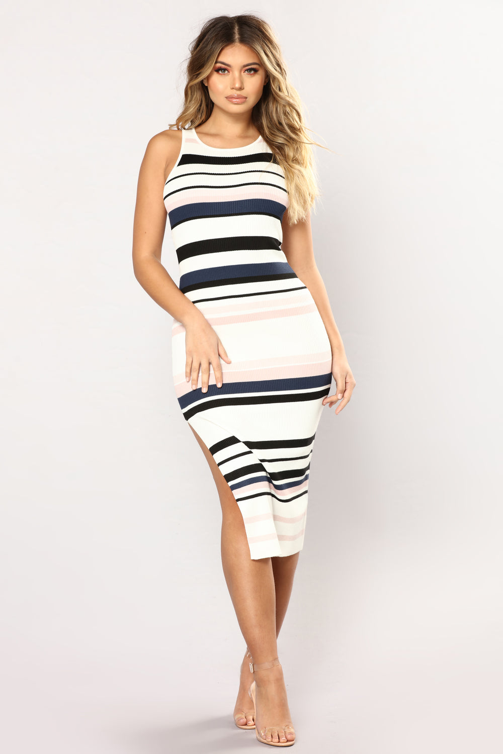 Amily Stripe Dress - Ivory/Blush