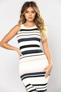 Amily Stripe Dress - Ivory/Blush Angle 2
