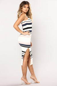 Amily Stripe Dress - Ivory/Blush Angle 3