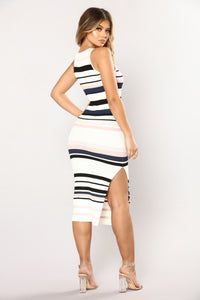 Amily Stripe Dress - Ivory/Blush Angle 4
