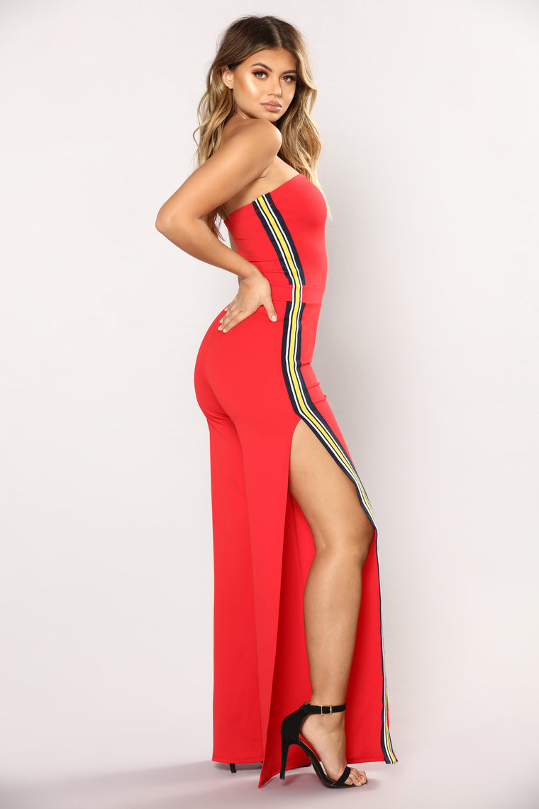 Spit Fire Tube Jumpsuit - Red