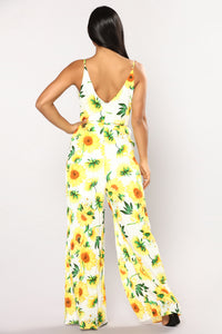 Sunflower Power Jumpsuit - Ivory/Yellow