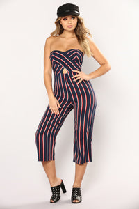 Josephine Jumpsuit - Navy/Red