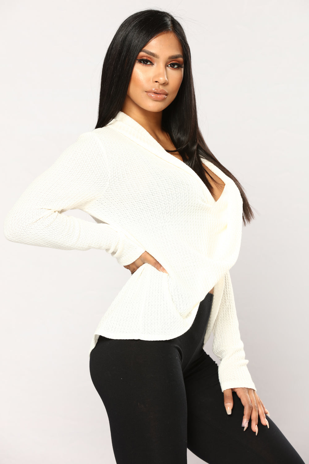 Snug As A Bug Waffle Knit Top - Off White