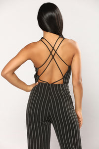Work The Pipeline Stripe Jumpsuit - Black
