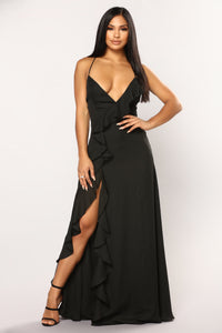 Clarissa Ruffle Dress - Black
