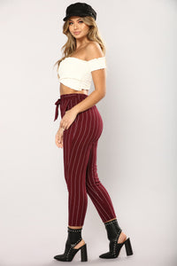 Lisana Stripe Pants - Burgundy/White