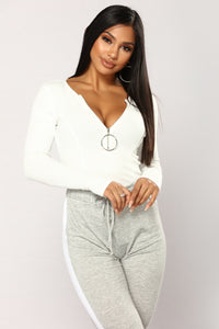 Tatiana Long Sleeve Bodysuit - Off White