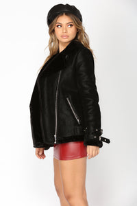 You Can Be Faux Sueded Jacket - Black