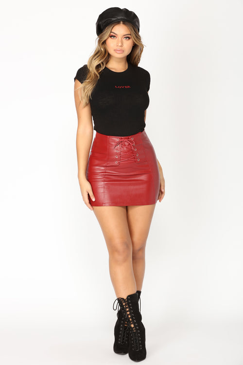 Skrt Skrt Faux Leather Skirt - Red