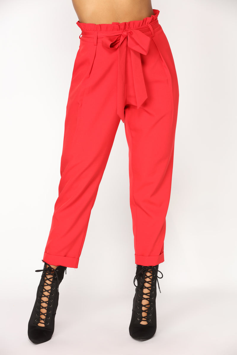 Knot Your Woman Pants - Red