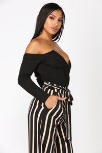 Desire Off Shoulder Bodysuit - Black