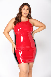 Breaking The Rules Latex Dress - Red/Black Angle 6
