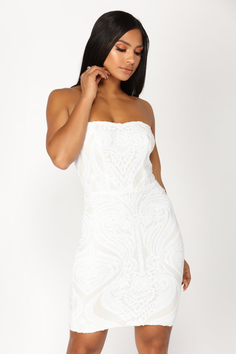 Morning Light Sequin Dress - White