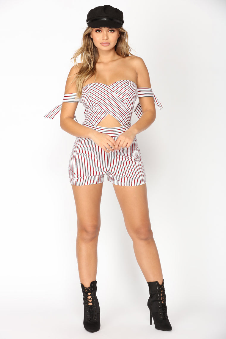 Good At Love Romper - White/Red