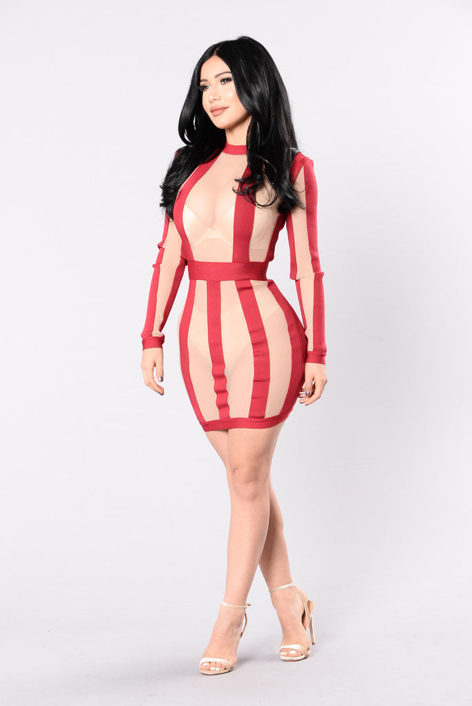 Hello Gorgeous Bandage Dress - Pink/Nude