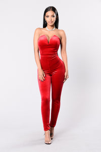 Poetic Lies Jumpsuit - Red Angle 1