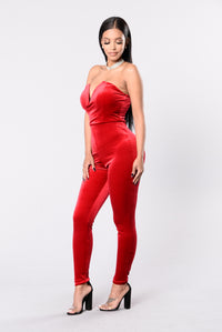 Poetic Lies Jumpsuit - Red Angle 2
