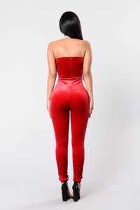 Poetic Lies Jumpsuit - Red Angle 3