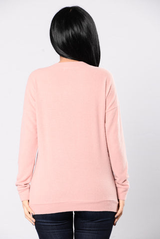 Cutting Knit Close Top - Mauve