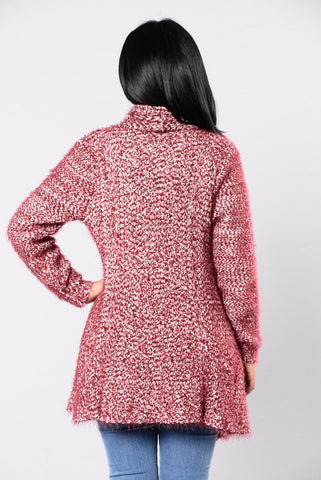 Snugged Up Cardigan - Burgundy