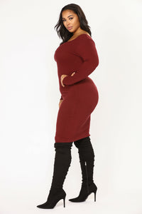 Puppy Playdate Ribbed Dress - Burgundy