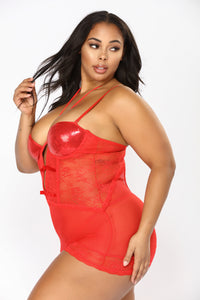 Late Night Message Chemise Set - Red