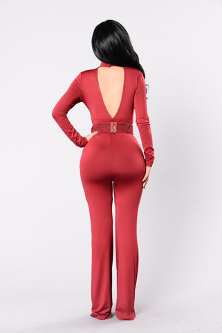 Find Your Love Jumpsuit - Burgundy