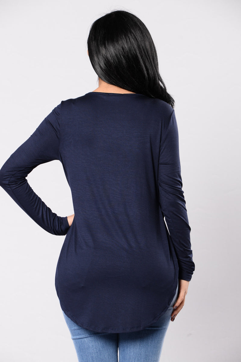 Along Came Autumn Top - Dark Navy
