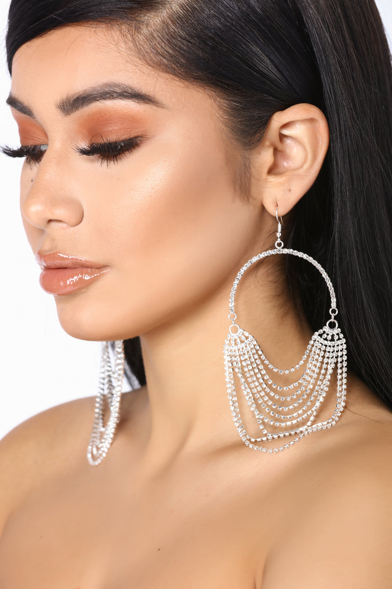 Chained In Love Earrings - Silver