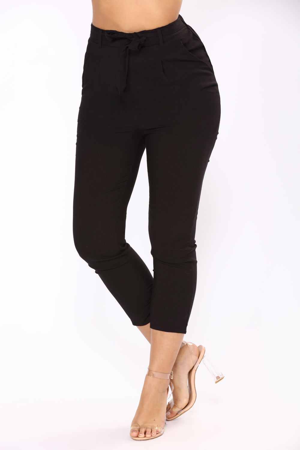 Work It Waist Tie Pants - Black
