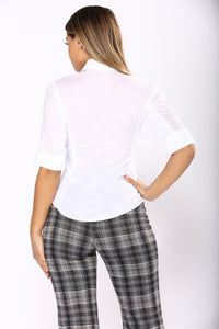 Taylor II Button Down Top - White