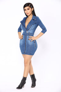 Denim Brat Mini Dress - Medium